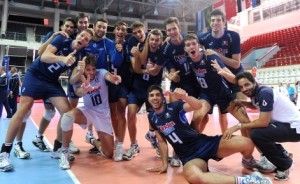 Italy team celebrate victory over Serbia