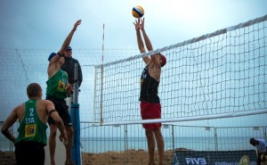 Paolo Ingrosso of Italy (left) & Grigoriy Goncharov of Russia (right) at the net